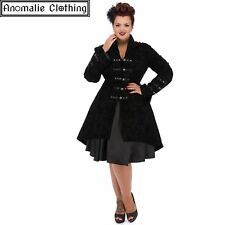 Hearts and Roses Black Flocked Tattoo Coat Retro Rockabilly Goth Punk Lolita Emo