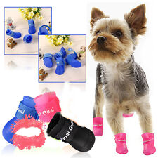 4PCS Dog Puppy Pet Chihuahua Shoes Boot Rain Boots Waterproof Anti-Slip Pop