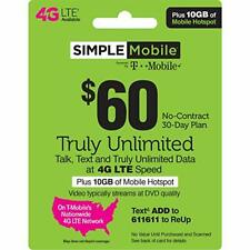 VERIZON PRELOADED SIM CARD $80 1MONTH FREE UNLIMITED TALK DATA