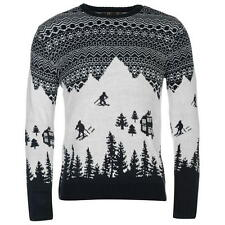 MENS NAVY BLUE NOVELTY FAIRISLE SKI CHRISTMAS XMAS KNIT JUMPER SWEATER TOP
