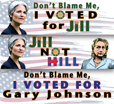 Don't Blame Me I Voted for: Hillary Clinton, Jill Stein, Johnson Bumper Sticker