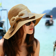 Fashion Womens Wide Brim Floppy Hat Bowknot Fodable Cap Summer Beach Sun Hat