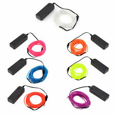 5M Colorful Flexible EL Wire Tube Rope Neon Light Glow Car Party Decor V9