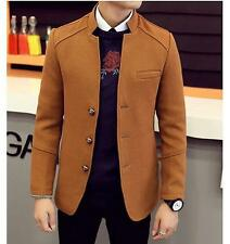 Korean formal Mens Stand Collar Wool Blend Slim Fit Two Button suit Jacket Coat