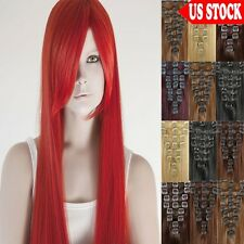 7 Pieces Clip In Remy Human Hair Extensions Full Head CLEARANCE Long Straight C6