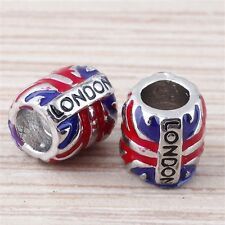 "Blue Red Enamel London Flag ""London"" Letters 18KGP Beads Fit European Bracelet"