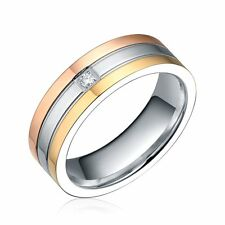 New Style Stainless Steel Rose Yellow Gold Silver-Tone Wedding Band Ring With CZ