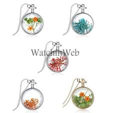 Beautiful Glass Dried Flower Locket Pendant Necklace Silver Chain