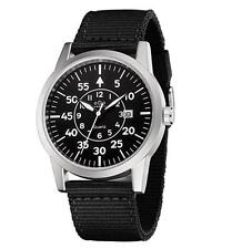 Men's Rugged Special Forces Style Tactical Watch with Nylon Canva Band Calendar