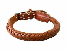 Weave Black Brown Pure Cowhide Pet Dog Leather Collar