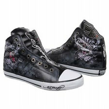 Ed Hardy Men's Brooklyn Shoes Leather Upper Rubber Hi Top Casual Sneakers  Black