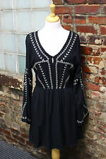 WOMENS ENTRO BLACK BELL SLEEVE DRESS SMALL NWTS