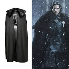 Game of Thrones Jon Snow Cosplay Full Set Black Outfit Cloak *Costume Made*