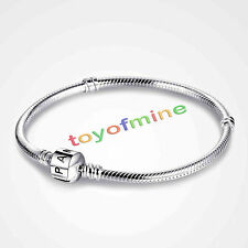 925 Sterling Silver Charm Bracelet Bangle with Lock Snake Chain Jewelry Gift