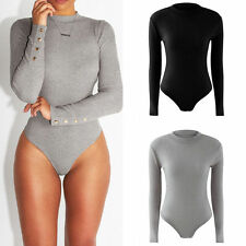 Sexy Women Solid Long Sleeve Stretch Bodysuit Bodycon Overalls Jumpsuits Rompers