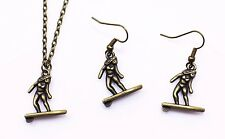 Surfing Lady Necklace Earrings Antique Bronze Miniature Jewelry Set Handmade