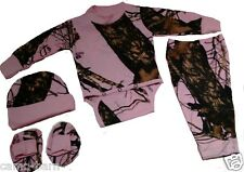 Mossy Oak Pink Camo 4pc Baby Set with Long Sleeve Diaper Shirt & Pants #NGGB4PMC
