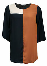 WOMENS PLUS SIZE BROWN BLOCK LONG SLEEVE EVENING PARTY TUNIC TOP SIZE 16 - 30