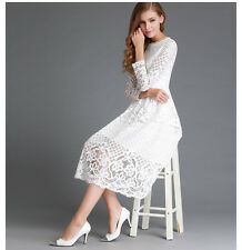 Elegant Women Lace Cocktail Dress Sexy Hollow Black Lace Long Sleeve Party Dress