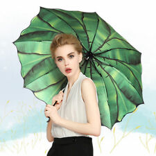 Folding Women UV Protection Sunshade Compact Umbrella Parasol Bamboo Leaf Print