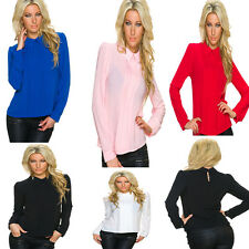 Ladies Gathered Long Sleeve Blouse Shirts Tops Fashion S 34 36 38 Tunic Top
