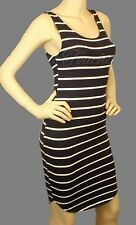 Sexy Navy Blue White Striped Sleeveless Tank Dress w/ Curved Hem Line Above Knee