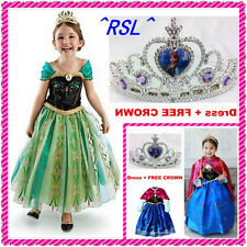 Girls Disney Elsa Frozen dress costume Princess Anna party cosplay nice clothe