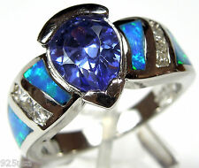 6x8mm Pear Tanzanite & Blue Fire Opal Inlay 925 Sterling Silver Ring Size 6 or 9
