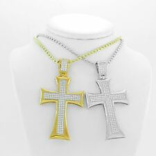 sterling silver 925 cross pendant micro-pave setting with moon chain diamond cut