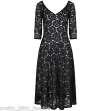 Pretty Kitty Fashion 40s 50s Vintage Black 3/4 Sleeve Lace Cocktail Party Dress
