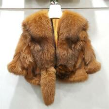 Women's Short Warm Coat Real Fox Fur Cape Wrap Poncho Trendy Xmas Coat Jacket