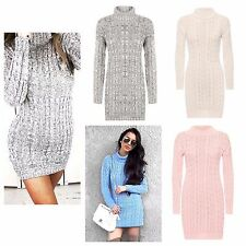 womens  ladies Long Sleeve Cowl Polo Neck Cable Knitted Jumper top plus 8 - 26