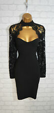 ~AMYA~ Black Lace Bodycon Evening Mini Pencil Wiggle Party Dress 8 10 12 14