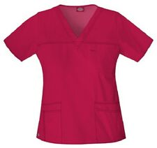 Dickies Scrubs 817455 V Neck Scrub Top Dickies Youtility Jr Fit Crimson