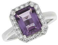 9 x 7mm Amethyst & 0.37ct Diamond Ring 9ct White Gold Made to order Size R - Z