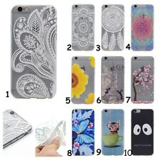 Slim Clear Soft TPU Floral Silicone Cover Back Case For iPhone Huawei LG Lenovo
