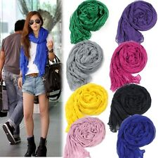 2014 New Women's Girl Long Big Cotton Blend Soft Crinkle Shawl Wraps Stole Scarf