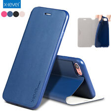 X-Level Ultra-thin Stand Luxury Leather Flip Back Cover Case For iPhone 7 7 Plus