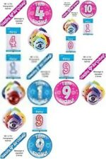 Birthday Party  Value Pack Blue or Pink (Banner 10 Balloons Candle Jumbo Badge)
