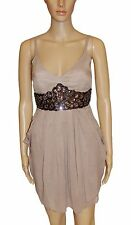 NEW Stone Grey Floaty Chiffon Sparkly Jewels Empire Line Knee Length Party Dress
