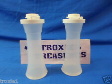 Tupperware hourglass salt & pepper shakers small sheer with white seals new