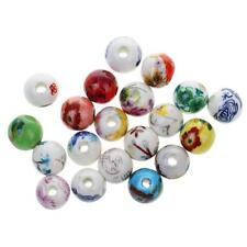 20pcs Mixed Flower Ceramic Porcelain Loose Beads for Jewelry Making DIY Crafts