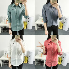 Sexy Womens Korean Long Sleeve Blouse Cotton T-Shirt Casual Button Lapel Tops