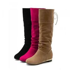 Casual Womens Faux Suede Low wedge Heel Riding Knee-High Boots Shoe Plus Sz