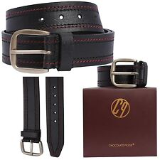 New Mens Womens Double Border Stitched Genuine Pin Buckle Leather Belts S-3XL