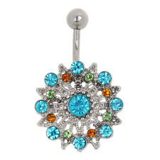 Flower/Tortoise/Heart Crystal Navel Belly Ring Button Bar Body Piercing Jewelry