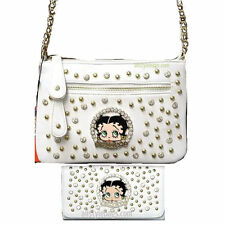 Betty Boop golden stud rhinestone wallet cross body shoulder bag set handbag