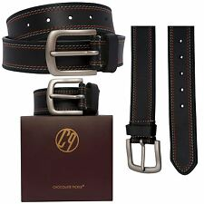 New Mens Womens Real Leather 3 Tone Border Buckle Belts S-3XL