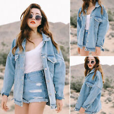 Women Boyfriend Casual Loose Jacket Oversize Denim Jeans Coat Outwear Korean New