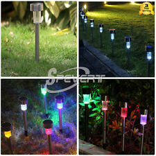 Outdoor Solar Power Stainless Steel LED Path Light Lawn Garden Landscape Lamp